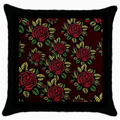 A Red Rose Tiling Pattern Throw Pillow Case (black) by Nexatart