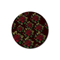 A Red Rose Tiling Pattern Rubber Coaster (round)  by Nexatart