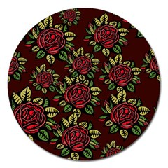A Red Rose Tiling Pattern Magnet 5  (round)