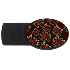 A Red Rose Tiling Pattern Usb Flash Drive Oval (2 Gb) by Nexatart