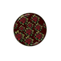A Red Rose Tiling Pattern Hat Clip Ball Marker (10 Pack) by Nexatart