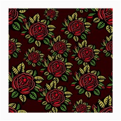 A Red Rose Tiling Pattern Medium Glasses Cloth by Nexatart