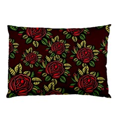 A Red Rose Tiling Pattern Pillow Case by Nexatart