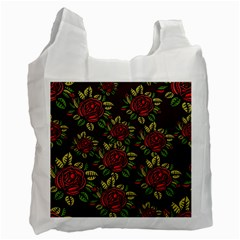 A Red Rose Tiling Pattern Recycle Bag (one Side) by Nexatart