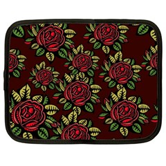 A Red Rose Tiling Pattern Netbook Case (xxl)  by Nexatart