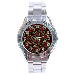 A Red Rose Tiling Pattern Stainless Steel Analogue Watch by Nexatart