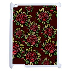 A Red Rose Tiling Pattern Apple Ipad 2 Case (white) by Nexatart