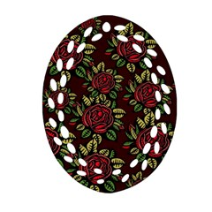 A Red Rose Tiling Pattern Oval Filigree Ornament (two Sides) by Nexatart
