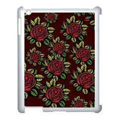 A Red Rose Tiling Pattern Apple Ipad 3/4 Case (white) by Nexatart