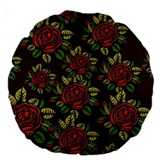 A Red Rose Tiling Pattern Large 18  Premium Round Cushions