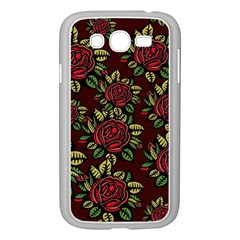 A Red Rose Tiling Pattern Samsung Galaxy Grand Duos I9082 Case (white) by Nexatart