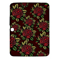 A Red Rose Tiling Pattern Samsung Galaxy Tab 3 (10 1 ) P5200 Hardshell Case  by Nexatart