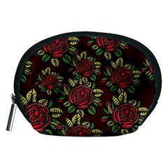A Red Rose Tiling Pattern Accessory Pouches (medium)  by Nexatart