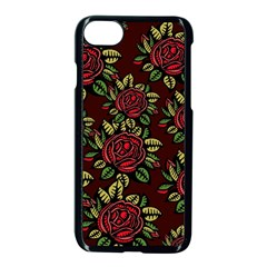 A Red Rose Tiling Pattern Apple Iphone 7 Seamless Case (black)