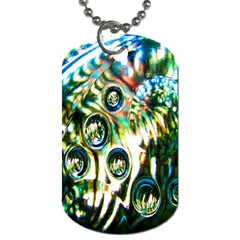 Dark Abstract Bubbles Dog Tag (one Side) by Nexatart