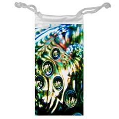 Dark Abstract Bubbles Jewelry Bag by Nexatart
