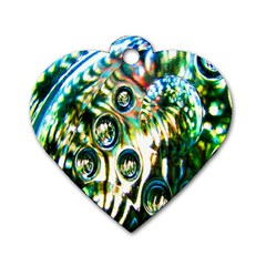 Dark Abstract Bubbles Dog Tag Heart (one Side) by Nexatart