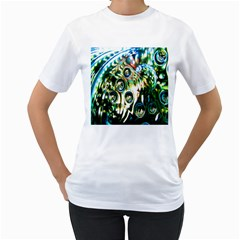 Dark Abstract Bubbles Women s T Shirt (white)  by Nexatart