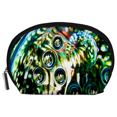 Dark Abstract Bubbles Accessory Pouches (large)  by Nexatart