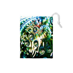 Dark Abstract Bubbles Drawstring Pouches (small)  by Nexatart