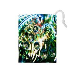 Dark Abstract Bubbles Drawstring Pouches (medium)