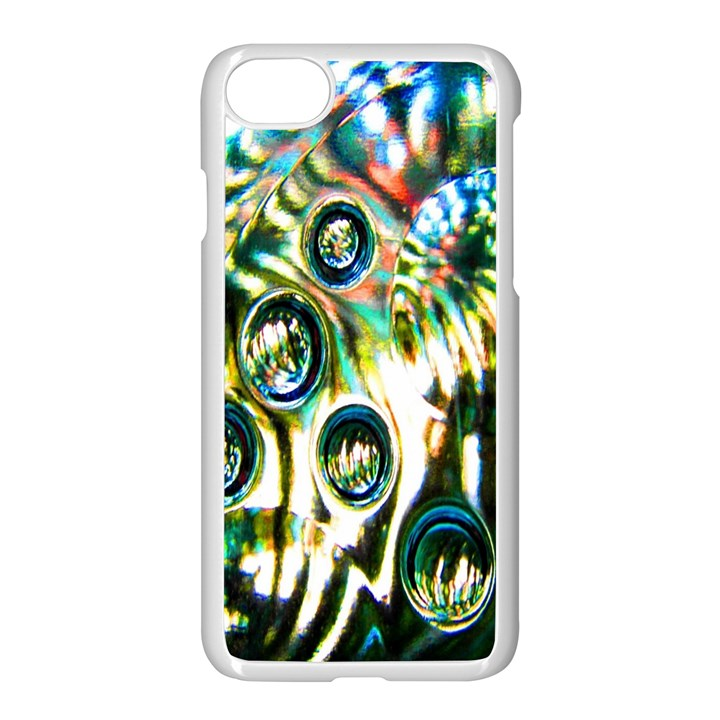 Dark Abstract Bubbles Apple iPhone 7 Seamless Case (White)