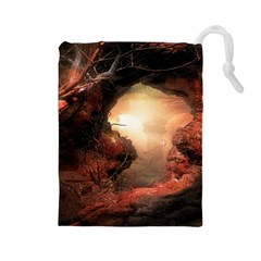 3d Illustration Of A Mysterious Place Drawstring Pouches (large)  by Nexatart