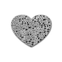 Metal Background With Round Holes Rubber Coaster (heart)  by Nexatart