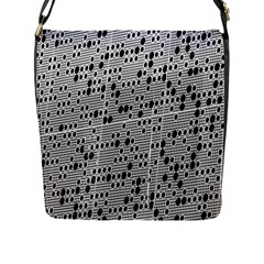 Metal Background With Round Holes Flap Messenger Bag (l)