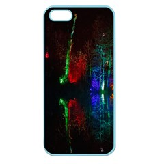 Illuminated Trees At Night Near Lake Apple Seamless Iphone 5 Case (color) by Nexatart