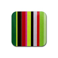 Stripe Background Rubber Square Coaster (4 Pack)  by Nexatart