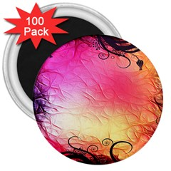Floral Frame Surrealistic 3  Magnets (100 Pack) by Nexatart