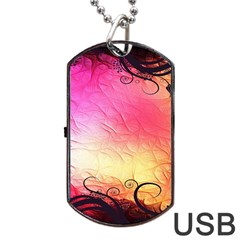 Floral Frame Surrealistic Dog Tag Usb Flash (one Side) by Nexatart