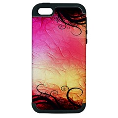 Floral Frame Surrealistic Apple Iphone 5 Hardshell Case (pc+silicone) by Nexatart