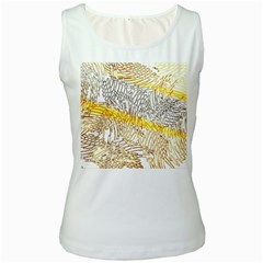 Abstract Composition Digital Processing Women s White Tank Top