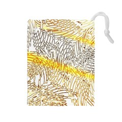 Abstract Composition Digital Processing Drawstring Pouches (large)