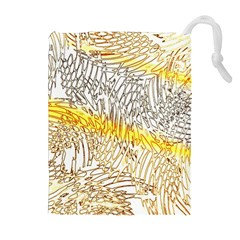 Abstract Composition Digital Processing Drawstring Pouches (extra Large)