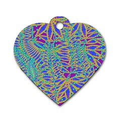 Abstract Floral Background Dog Tag Heart (two Sides) by Nexatart