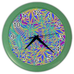 Abstract Floral Background Color Wall Clocks by Nexatart