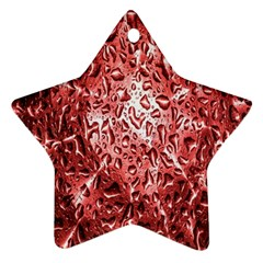 Water Drops Red Star Ornament (two Sides) by Nexatart