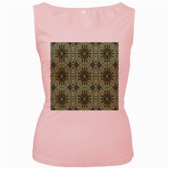 Seamless Abstraction Wallpaper Digital Computer Graphic Women s Pink Tank Top by Nexatart