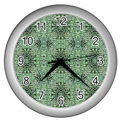Seamless Abstraction Wallpaper Digital Computer Graphic Wall Clocks (silver)