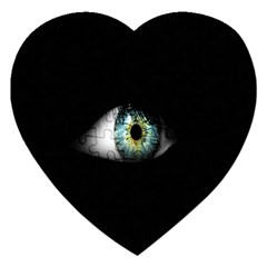 Eye On The Black Background Jigsaw Puzzle (heart) by Nexatart