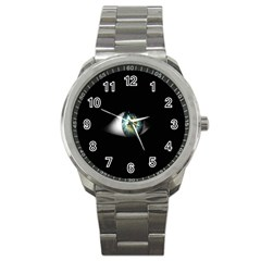 Eye On The Black Background Sport Metal Watch by Nexatart