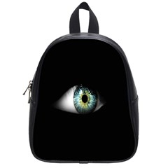 Eye On The Black Background School Bags (small)  by Nexatart