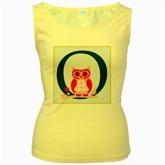 Alphabet Letter O With Owl Illustration Ideal For Teaching Kids Women s Yellow Tank Top by Nexatart