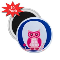 Alphabet Letter O With Owl Illustration Ideal For Teaching Kids 2 25  Magnets (10 Pack)  by Nexatart