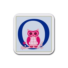Alphabet Letter O With Owl Illustration Ideal For Teaching Kids Rubber Coaster (square)