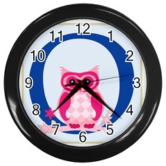 Alphabet Letter O With Owl Illustration Ideal For Teaching Kids Wall Clocks (black) by Nexatart