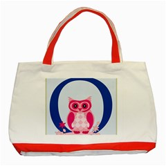 Alphabet Letter O With Owl Illustration Ideal For Teaching Kids Classic Tote Bag (red) by Nexatart